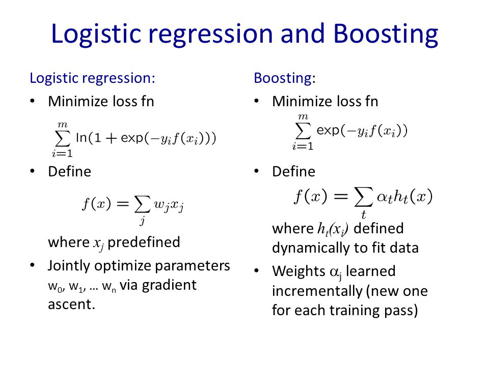 Logistic regression and Boosting