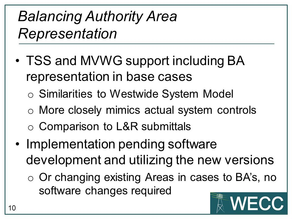 Balancing Authority Area Representation