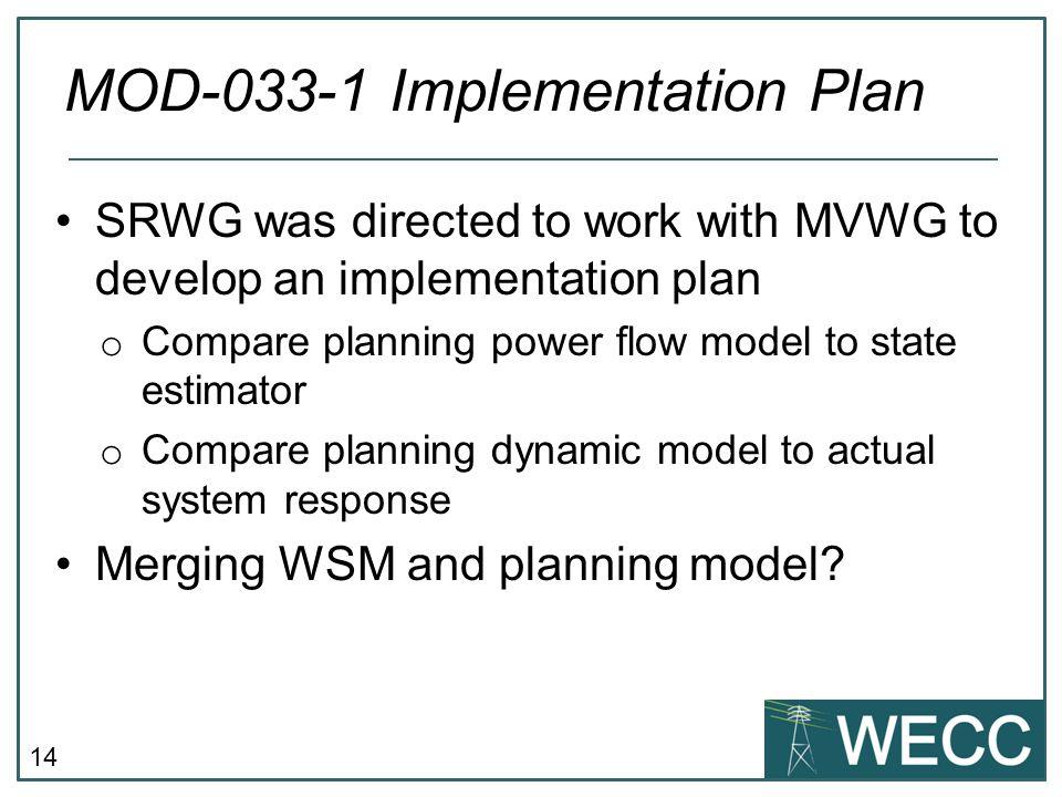MOD-033-1 Implementation Plan