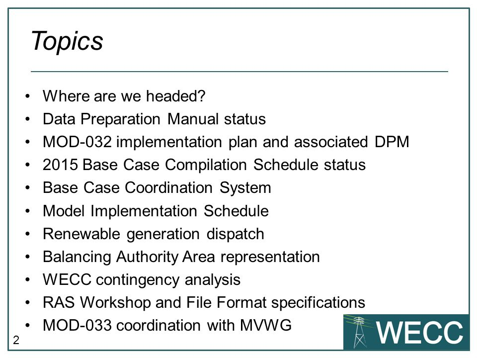 Topics Where are we headed Data Preparation Manual status