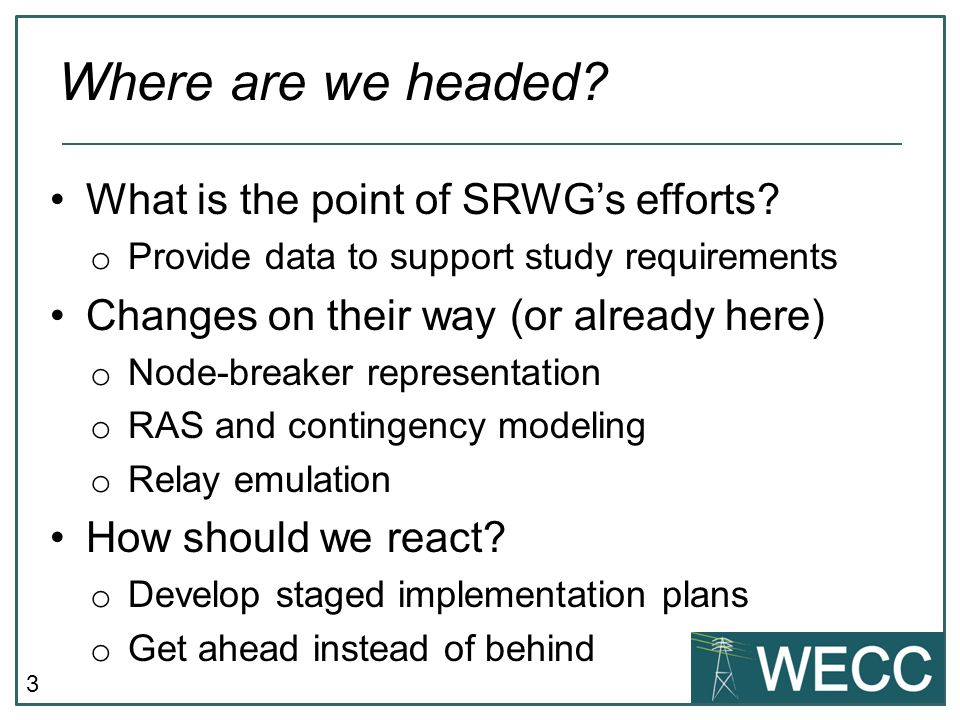Where are we headed What is the point of SRWG's efforts