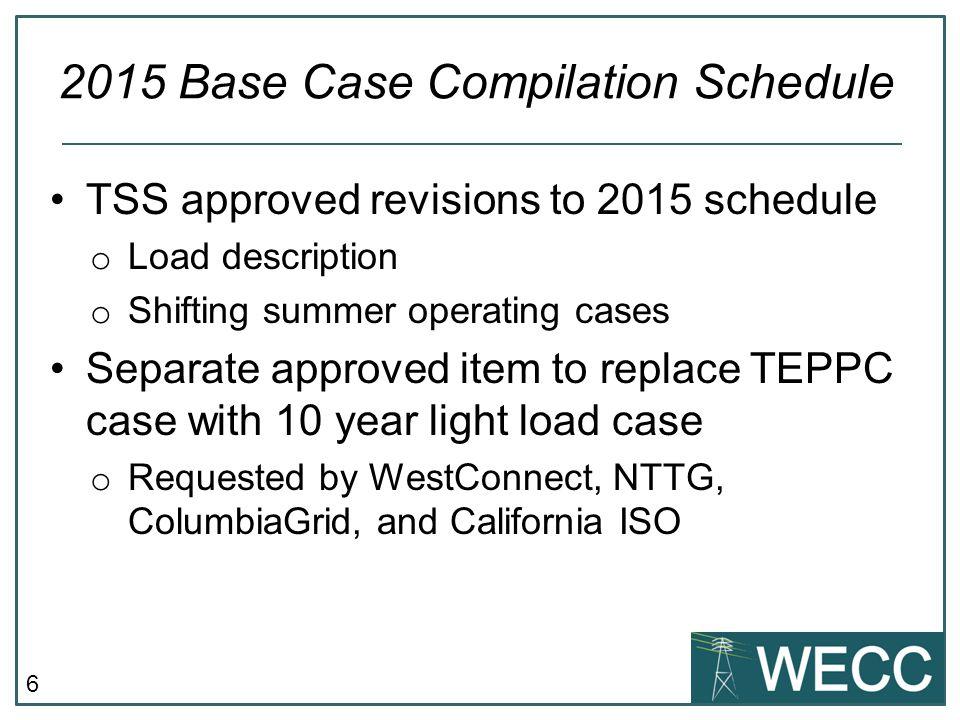 2015 Base Case Compilation Schedule