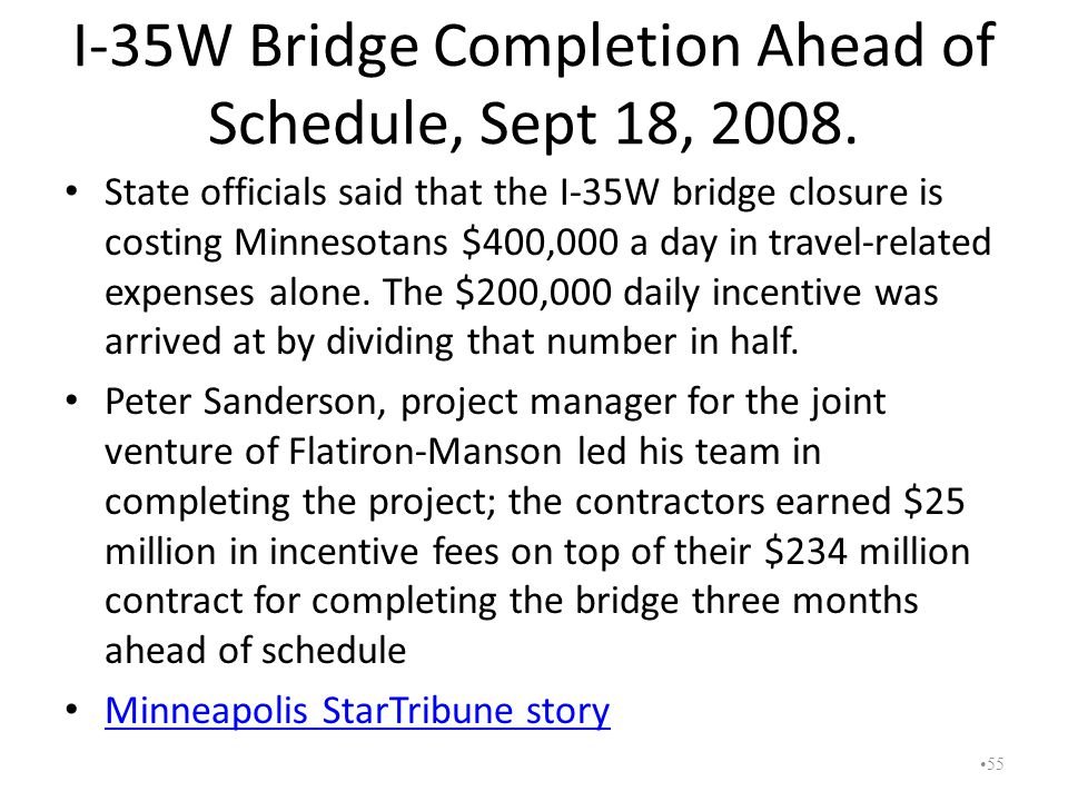 I-35W Bridge Completion Ahead of Schedule, Sept 18, 2008.