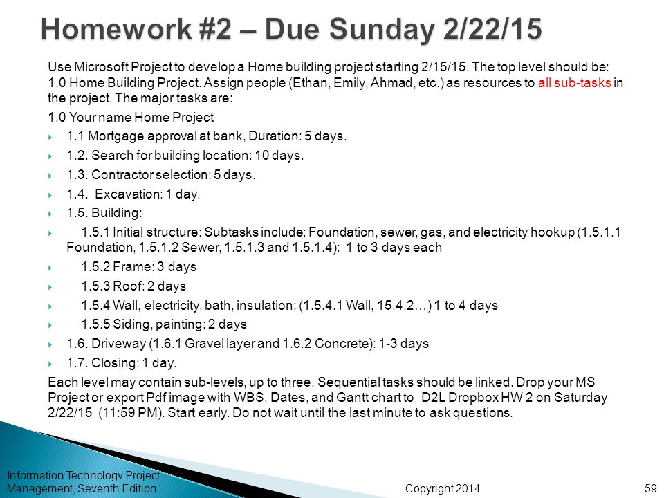 Homework #2 – Due Sunday 2/22/15
