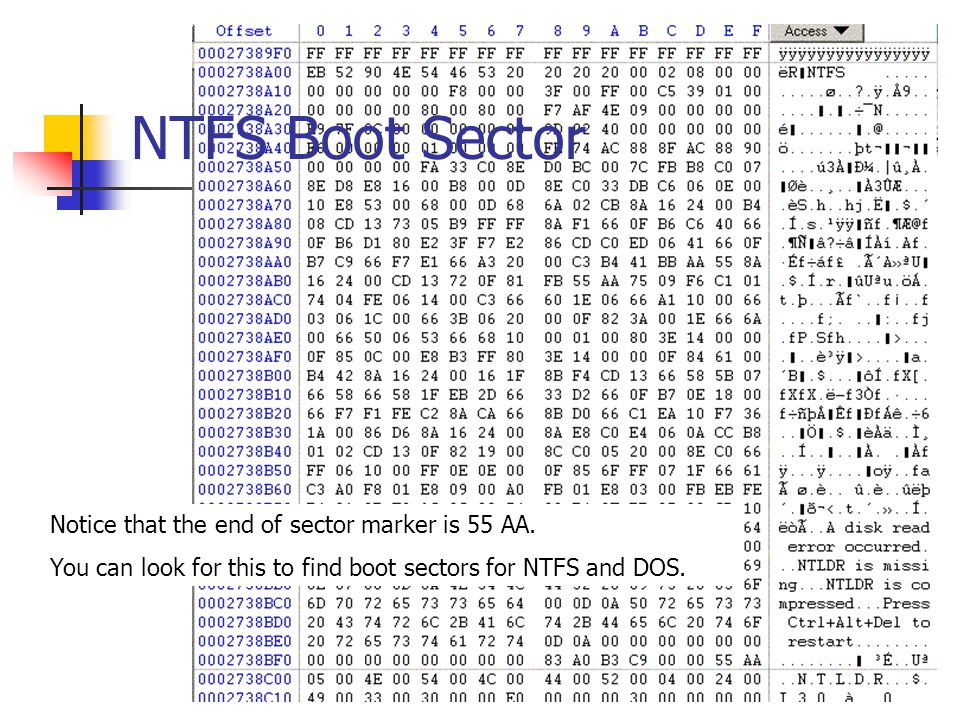NTFS Boot Sector Notice that the end of sector marker is 55 AA.