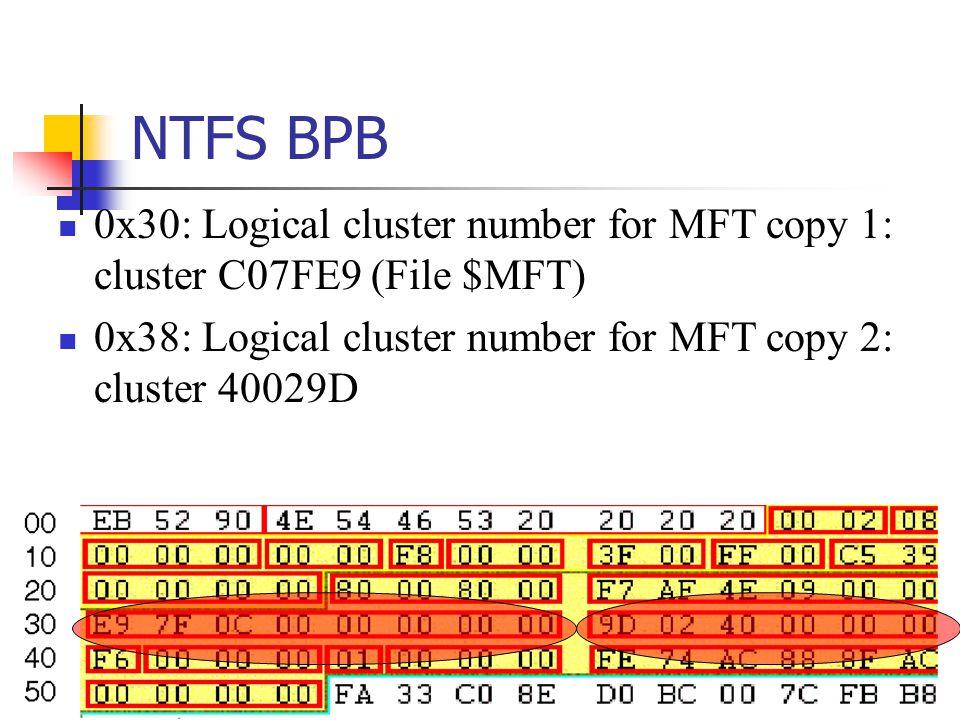 NTFS BPB 0x30: Logical cluster number for MFT copy 1: cluster C07FE9 (File $MFT) 0x38: Logical cluster number for MFT copy 2: cluster 40029D.