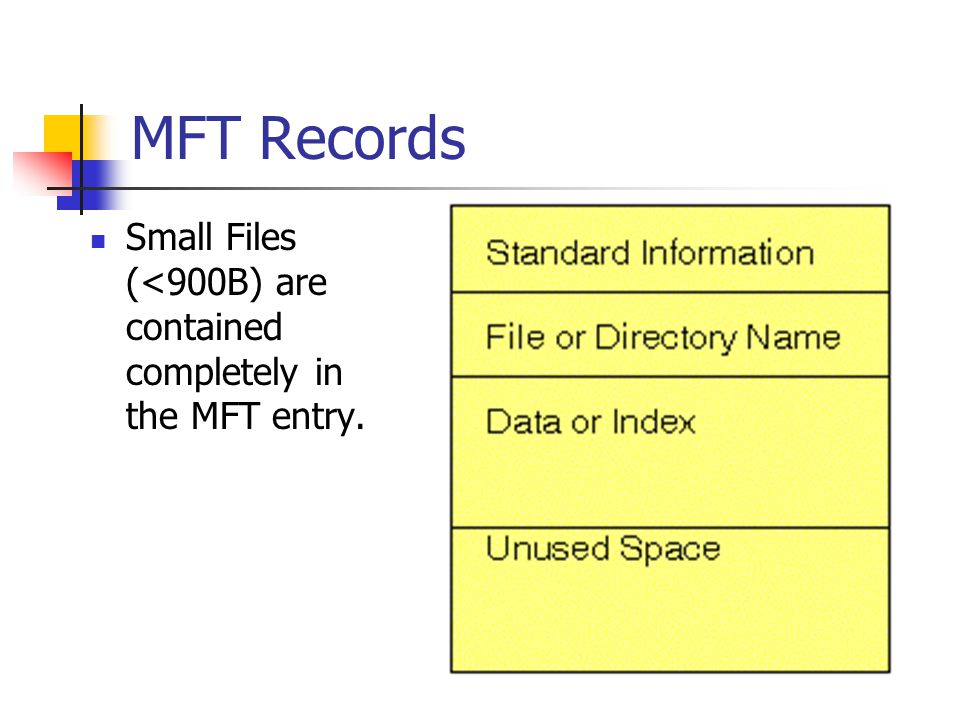MFT Records Small Files (<900B) are contained completely in the MFT entry.