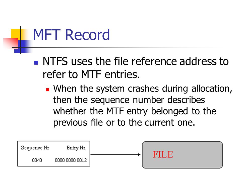 MFT Record NTFS uses the file reference address to refer to MTF entries.