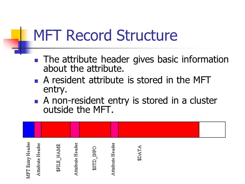 MFT Record Structure The attribute header gives basic information about the attribute. A resident attribute is stored in the MFT entry.
