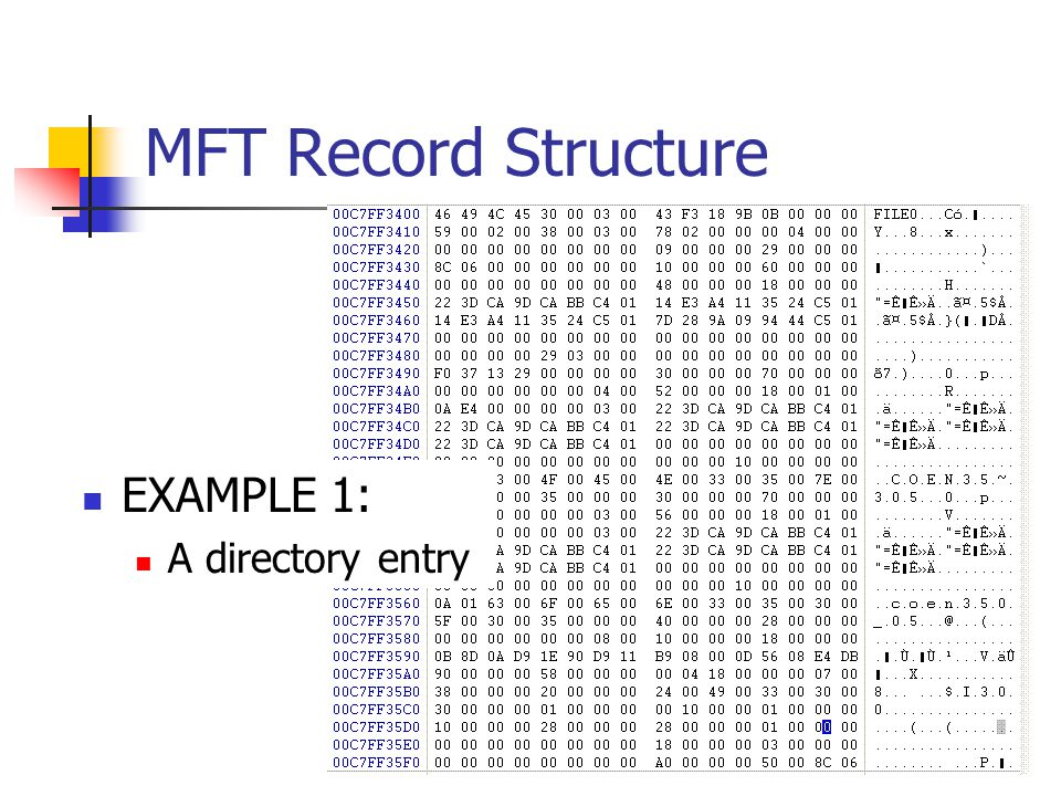 MFT Record Structure EXAMPLE 1: A directory entry