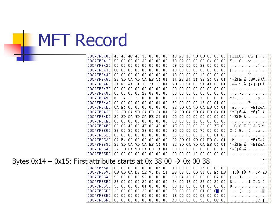 MFT Record Bytes 0x14 – 0x15: First attribute starts at 0x 38 00  0x 00 38
