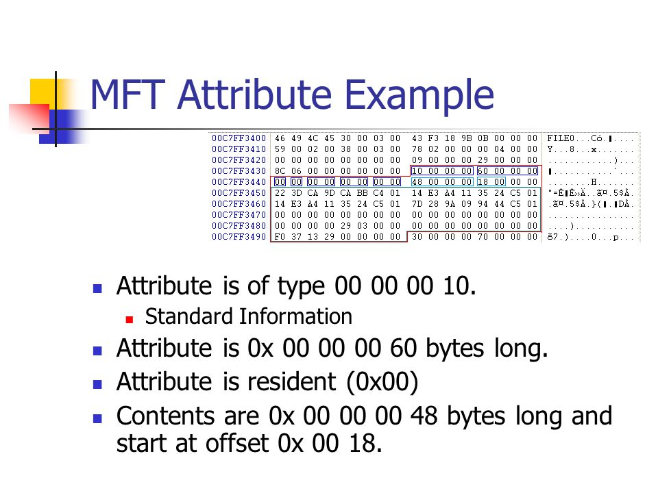 MFT Attribute Example Attribute is of type 00 00 00 10.