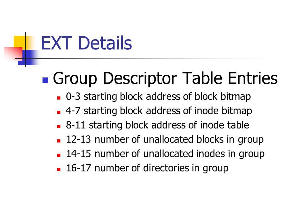 EXT Details Group Descriptor Table Entries