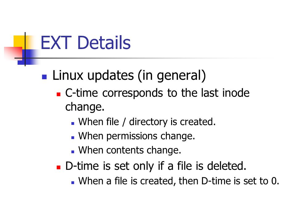 EXT Details Linux updates (in general)