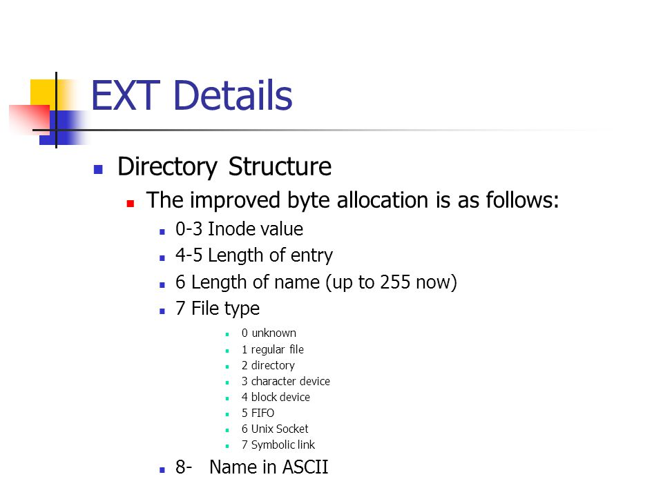 EXT Details Directory Structure