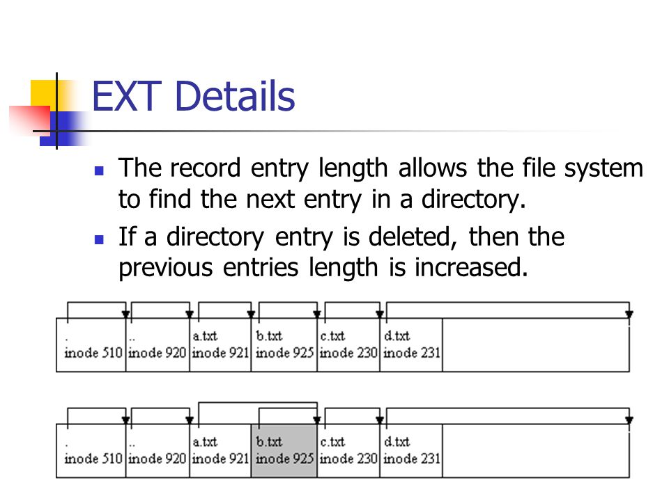 EXT Details The record entry length allows the file system to find the next entry in a directory.