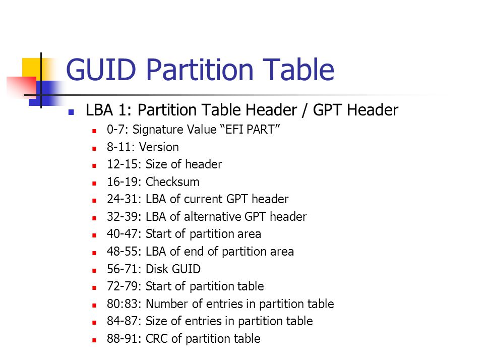 GUID Partition Table LBA 1: Partition Table Header / GPT Header
