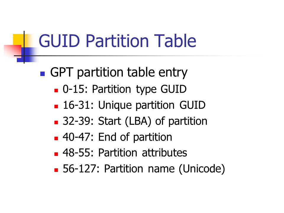 GUID Partition Table GPT partition table entry