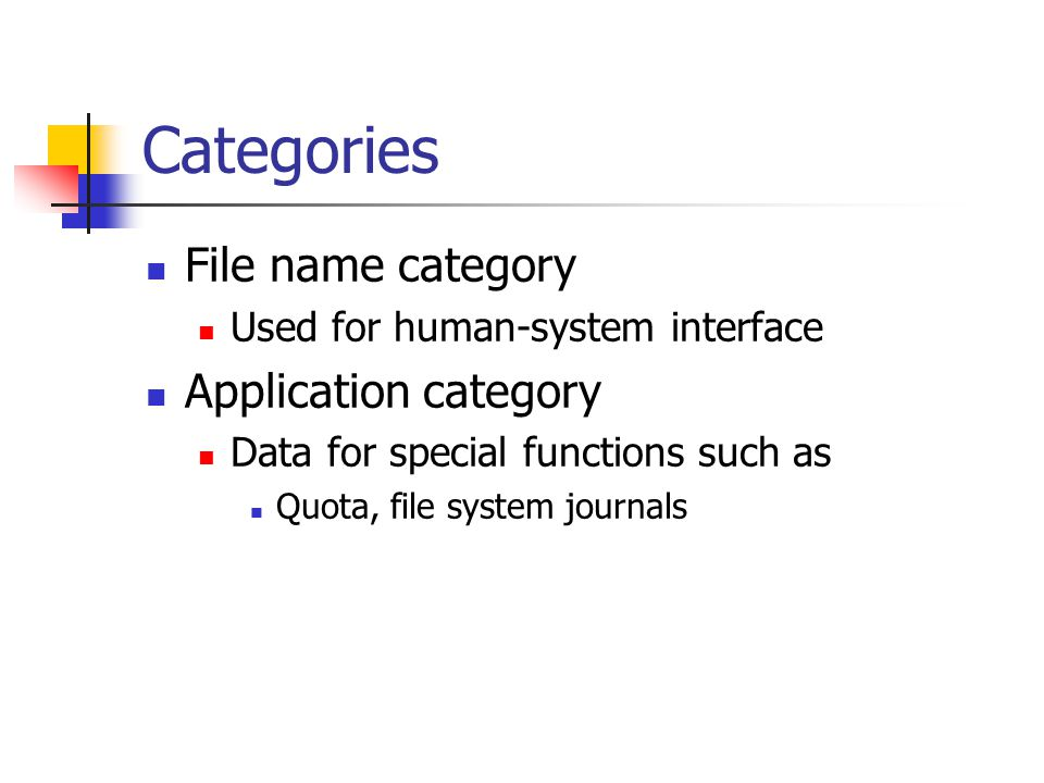 Categories File name category Application category