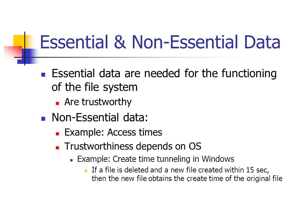 Essential & Non-Essential Data