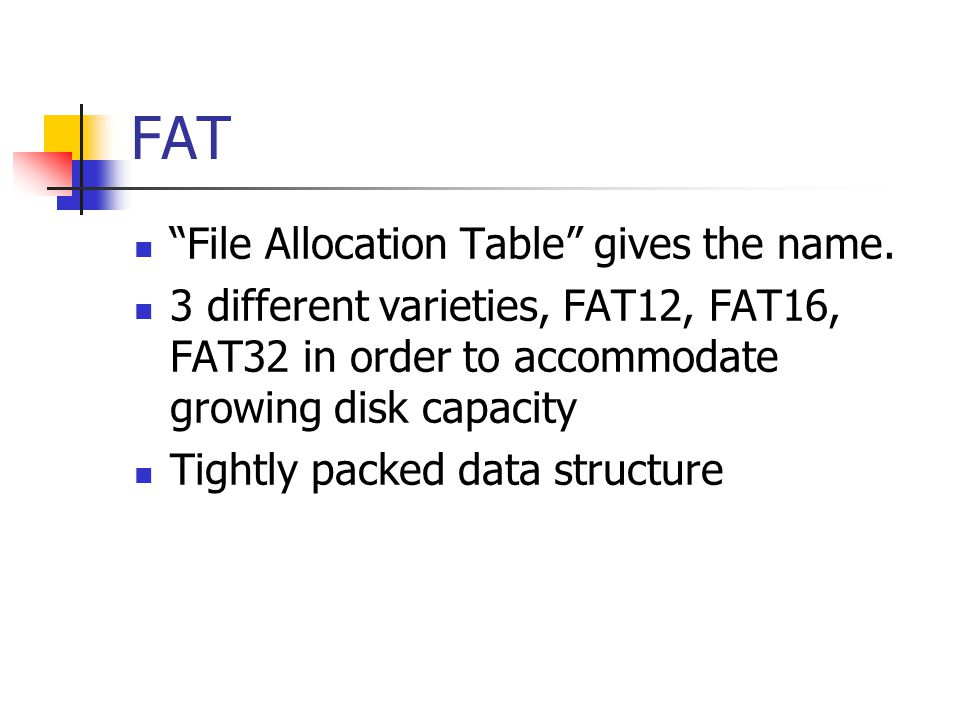 FAT File Allocation Table gives the name.