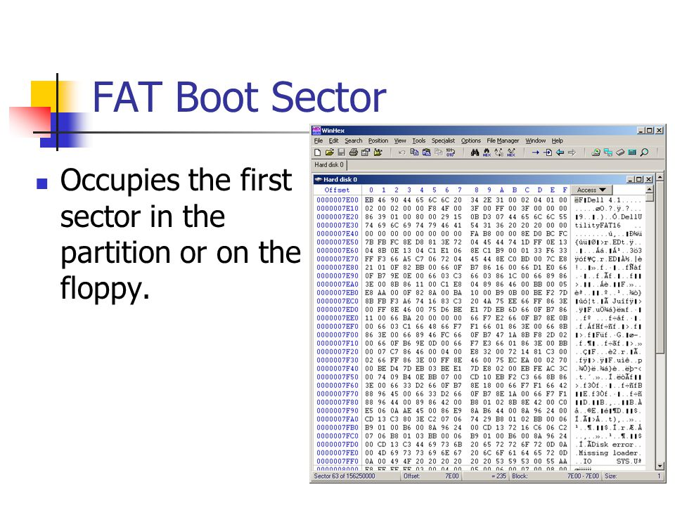 FAT Boot Sector Occupies the first sector in the partition or on the floppy.