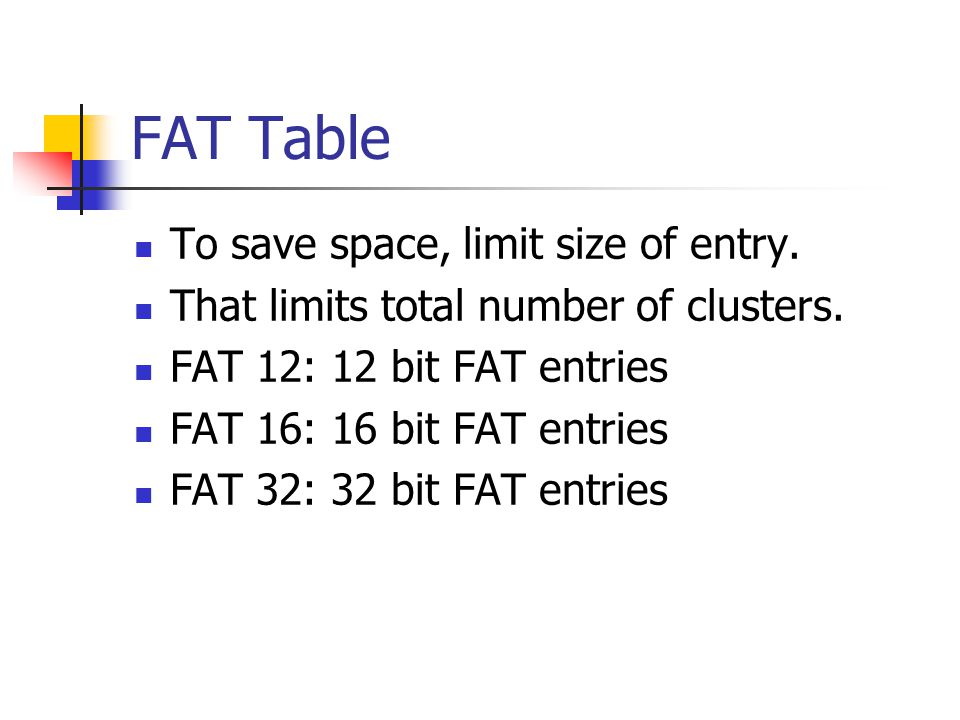 FAT Table To save space, limit size of entry.