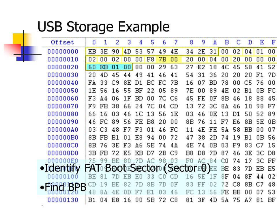 USB Storage Example Identify FAT Boot Sector (Sector 0) Find BPB