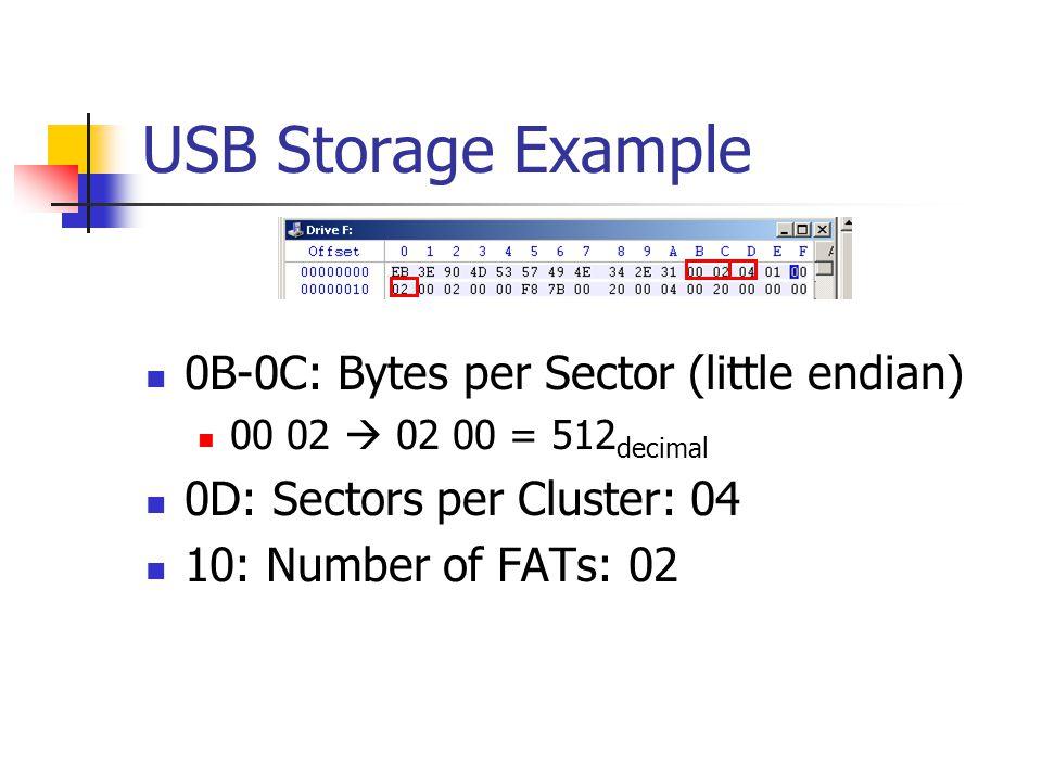 USB Storage Example 0B-0C: Bytes per Sector (little endian)