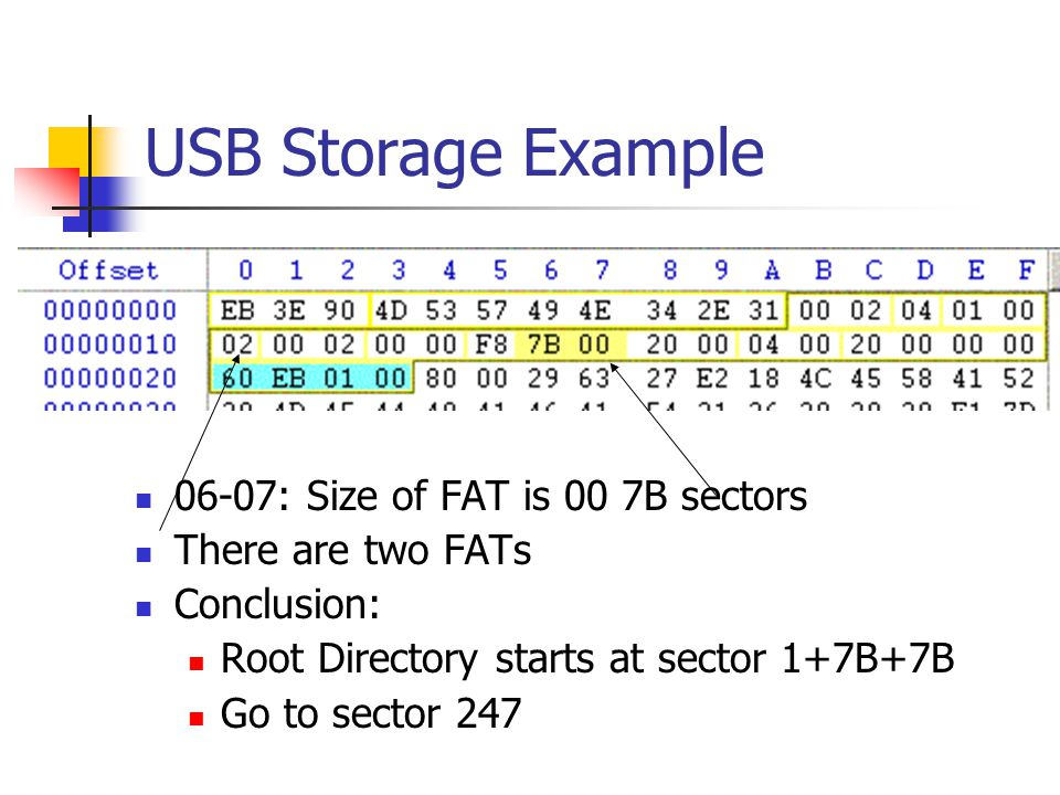 USB Storage Example 06-07: Size of FAT is 00 7B sectors