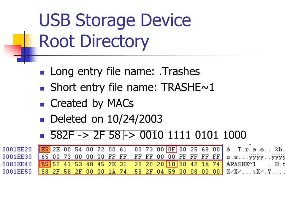 USB Storage Device Root Directory