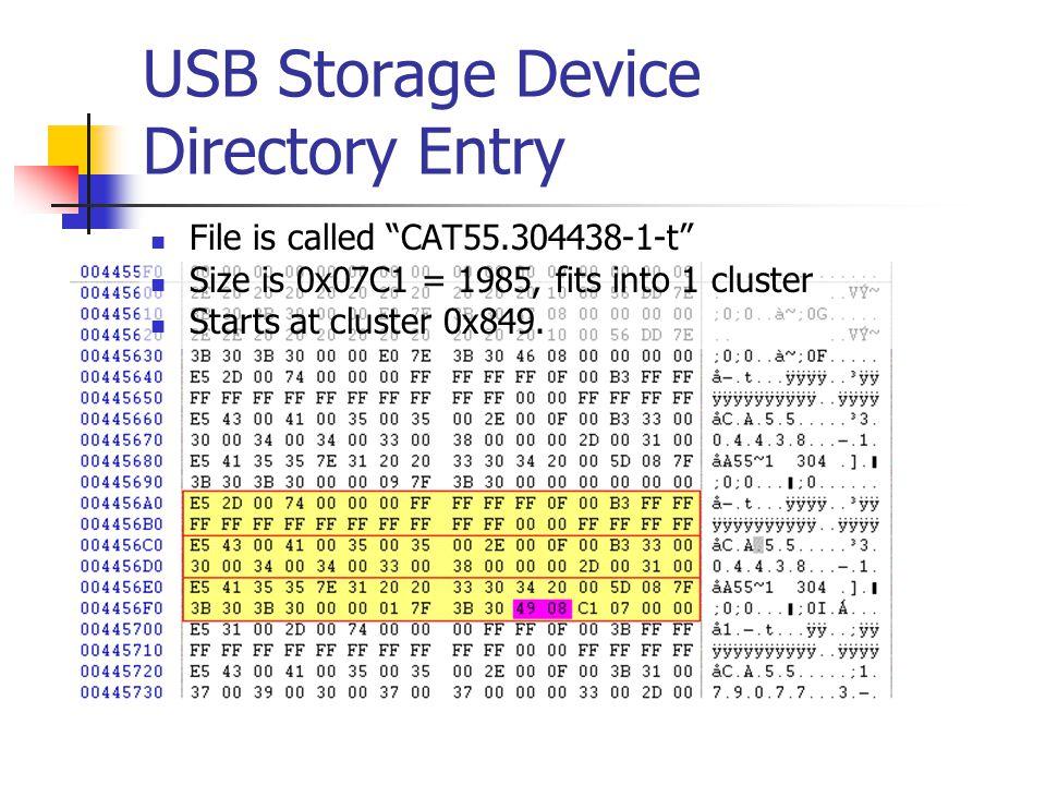 USB Storage Device Directory Entry