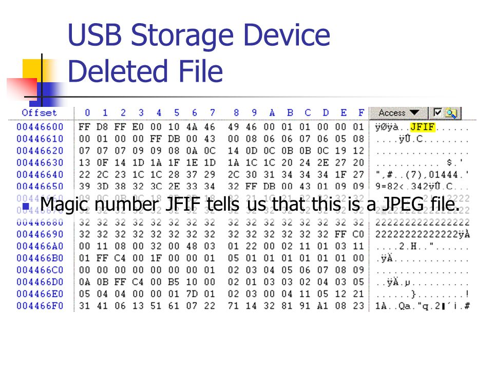 USB Storage Device Deleted File