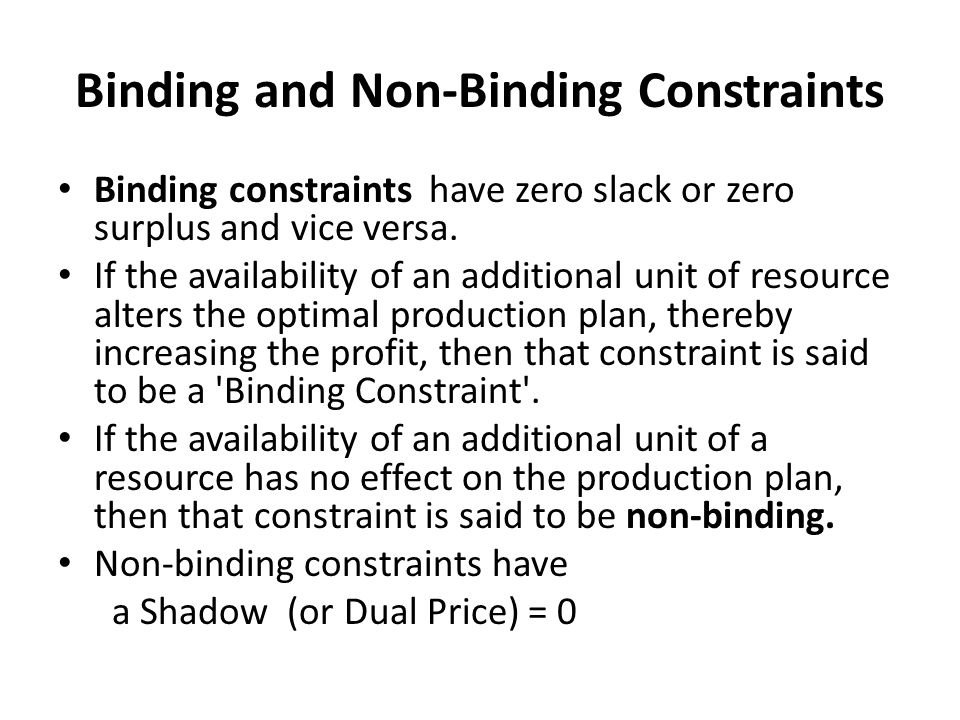 Binding and Non-Binding Constraints