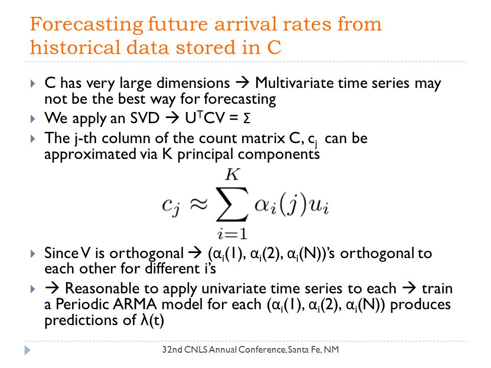 Forecasting future arrival rates from historical data stored in C