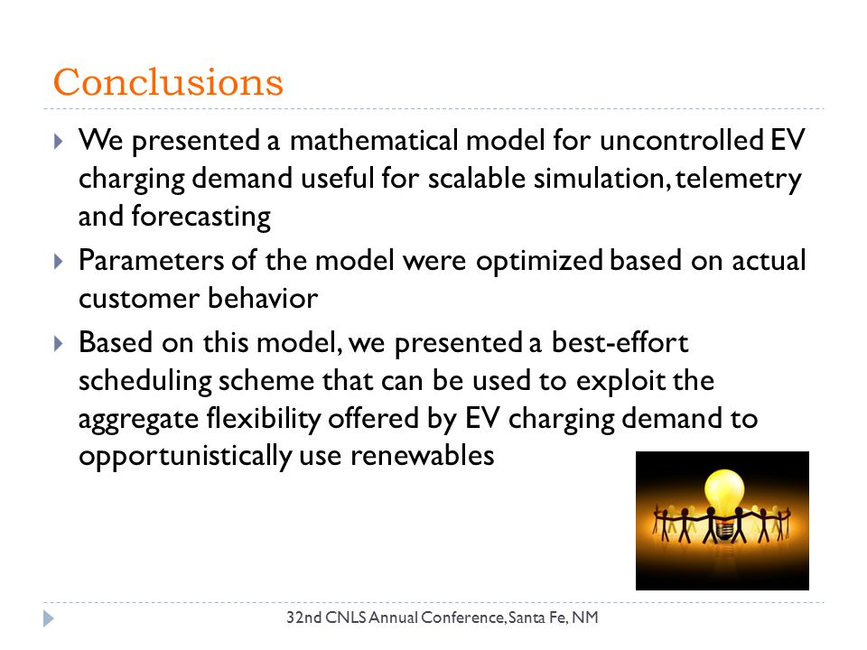 Conclusions We presented a mathematical model for uncontrolled EV charging demand useful for scalable simulation, telemetry and forecasting.