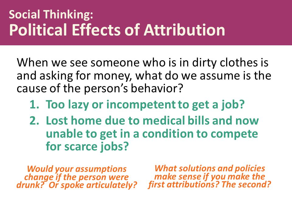 Social Thinking: Political Effects of Attribution
