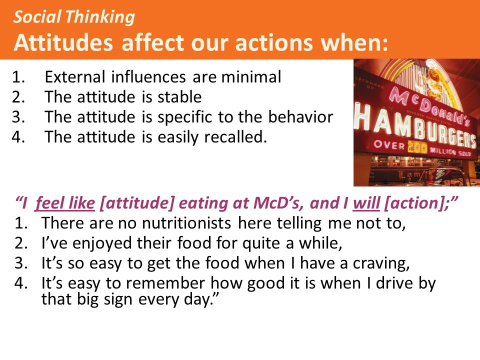 Social Thinking Attitudes affect our actions when: