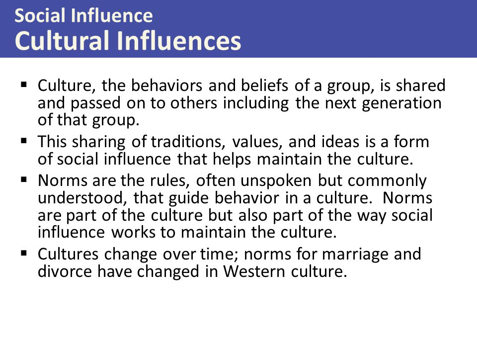 Social Influence Cultural Influences