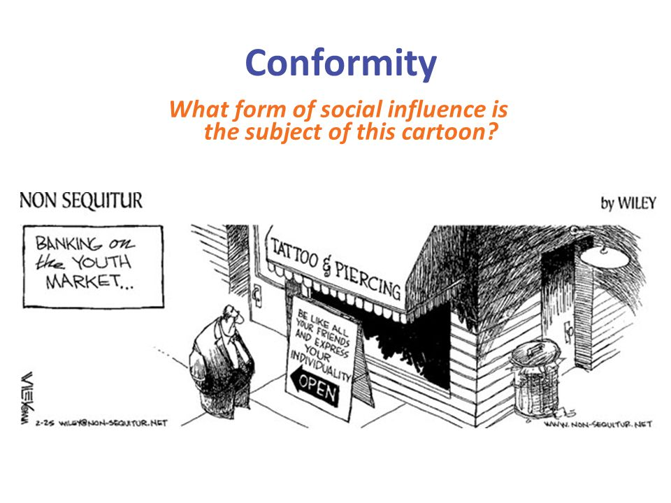 What form of social influence is the subject of this cartoon
