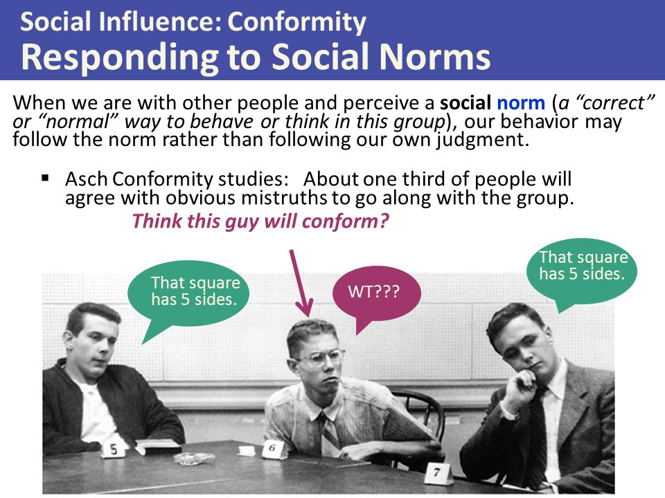 Social Influence: Conformity Responding to Social Norms
