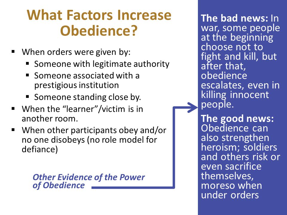 the role of power in obedience essay The power of this inhibiting factor must have been greater than the experienced stress, and it is here that milgram (1963) points to the force that the situation carries in itself.