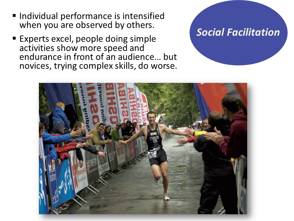 Social Facilitation Individual performance is intensified when you are observed by others.