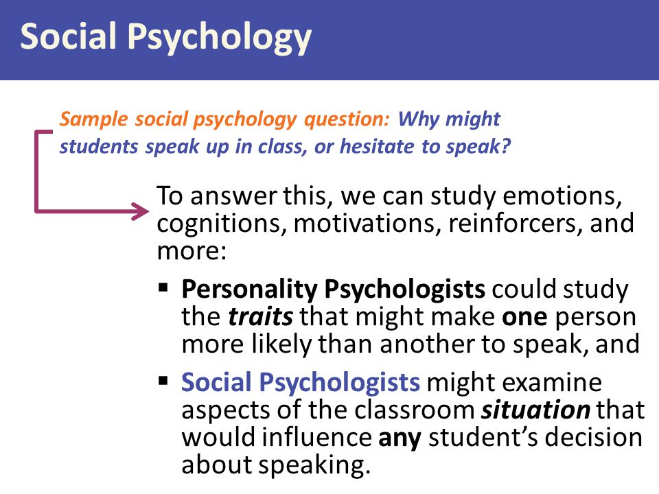 Social Psychology Sample social psychology question: Why might students speak up in class, or hesitate to speak