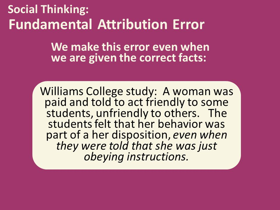 the fundamental attribution error Discuss two errors in attributions (22)  fundamental attribution error  questions and give answers and is a learned response rather than attribution error.