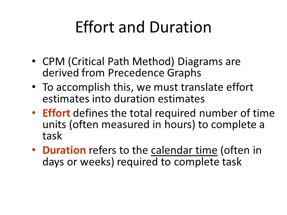 Effort and Duration CPM (Critical Path Method) Diagrams are derived from Precedence Graphs.
