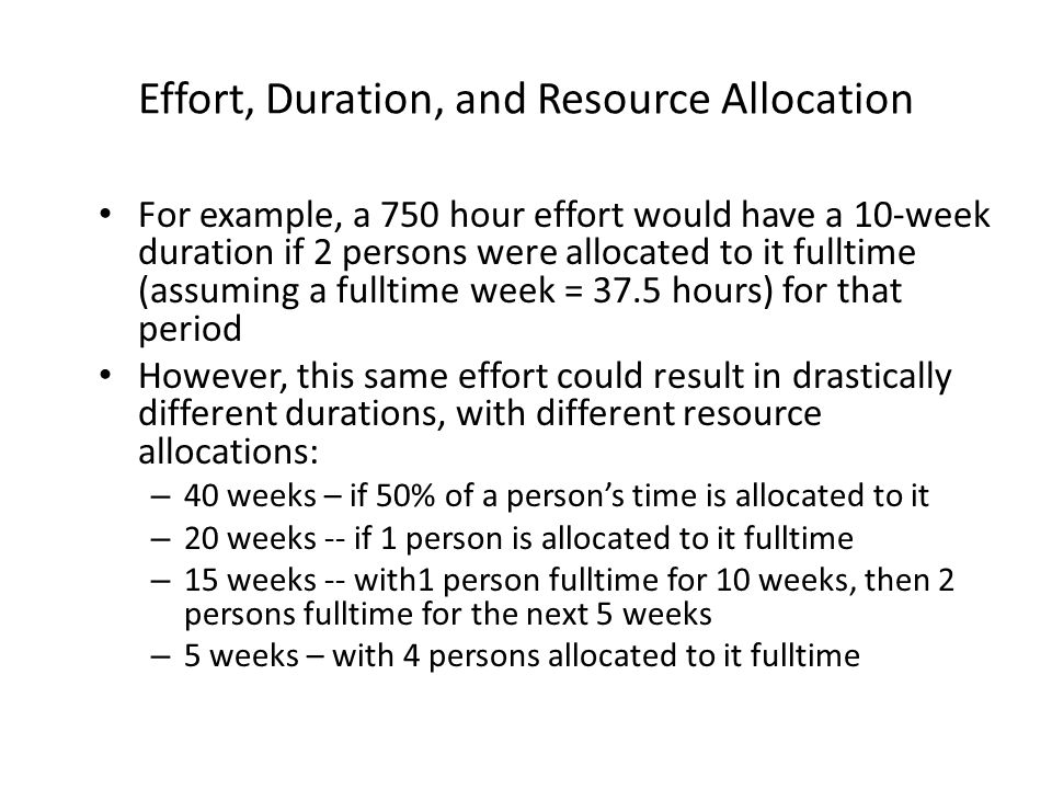 Effort, Duration, and Resource Allocation