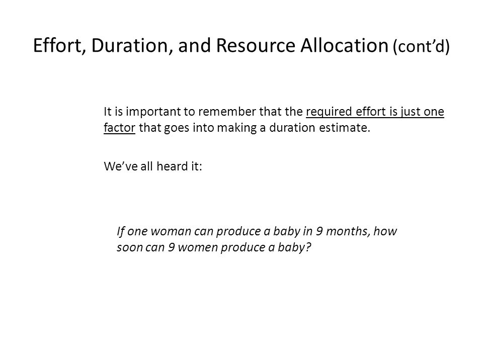 Effort, Duration, and Resource Allocation (cont'd)