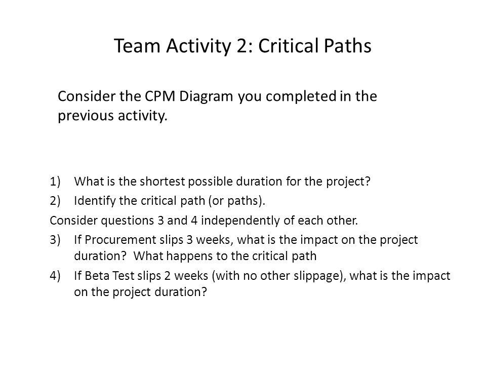 Team Activity 2: Critical Paths