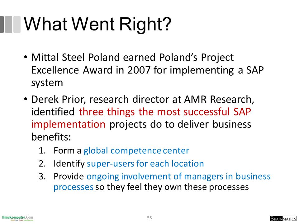 What Went Right Mittal Steel Poland earned Poland's Project Excellence Award in 2007 for implementing a SAP system.
